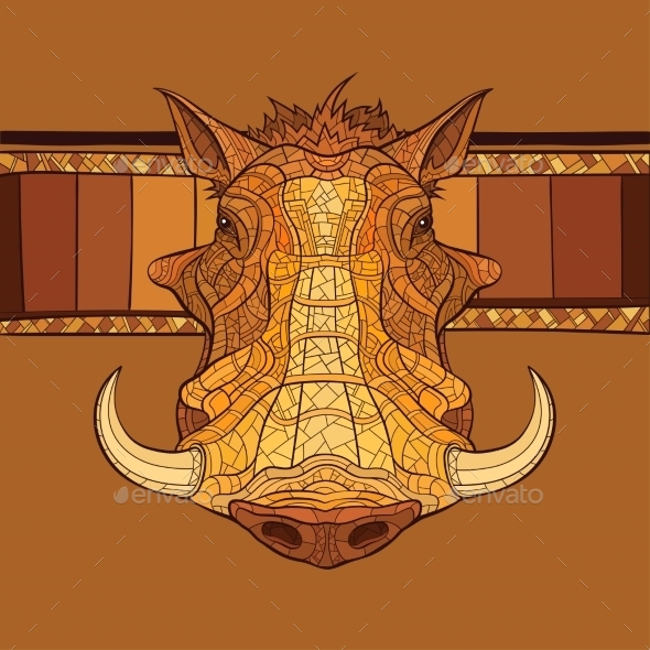 GraphicRiver Decorative Warthog Head 10921011