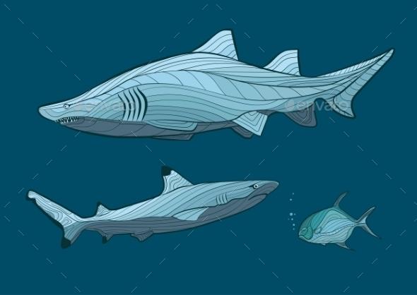 GraphicRiver Decorative Sharks 10921049