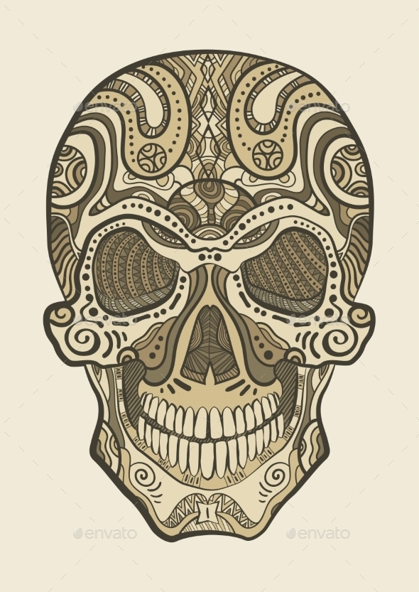 GraphicRiver Decorative Human Skull 10921133