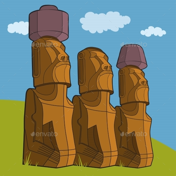 GraphicRiver Sculptures of Easter Island Rapa Nui 10921145