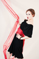Portrait of woman in black dress with red belt - PhotoDune Item for Sale