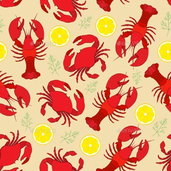 GraphicRiver Lobster and Crab Pattern 10921164