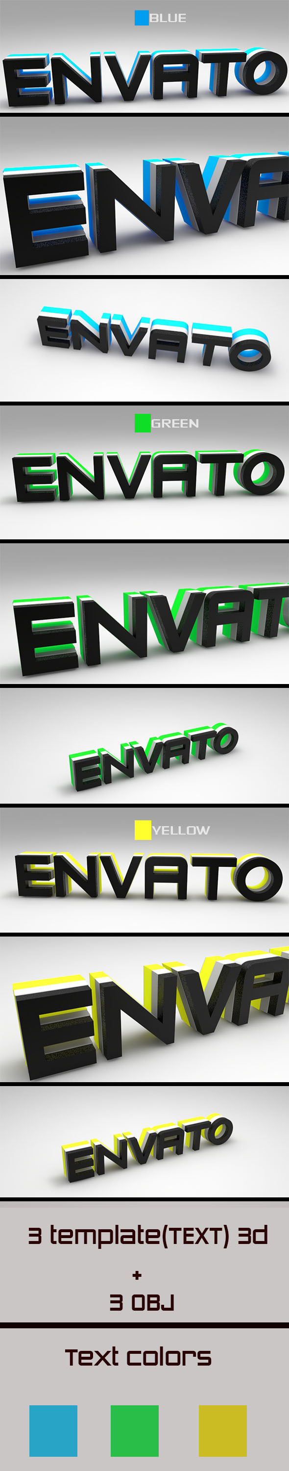 3DOcean Text 3D Envato Blue-Green-Yellow 10921283