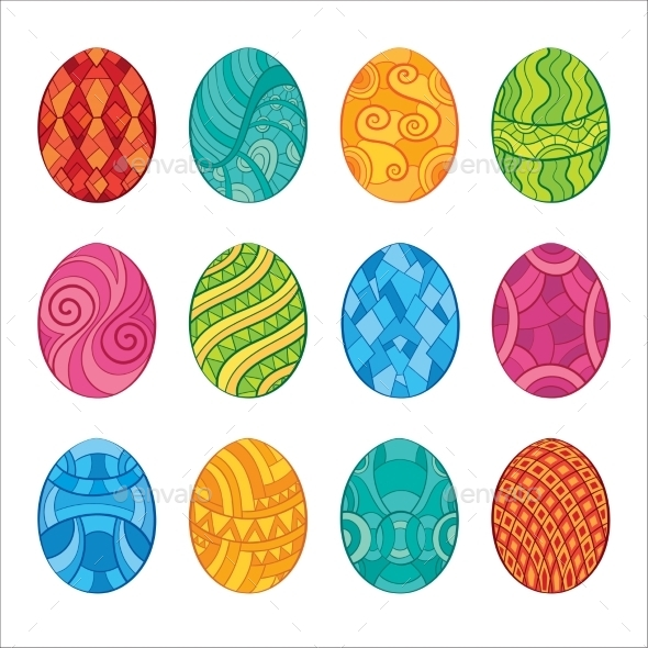 GraphicRiver Decorative Set of Easter Eggs 10921335