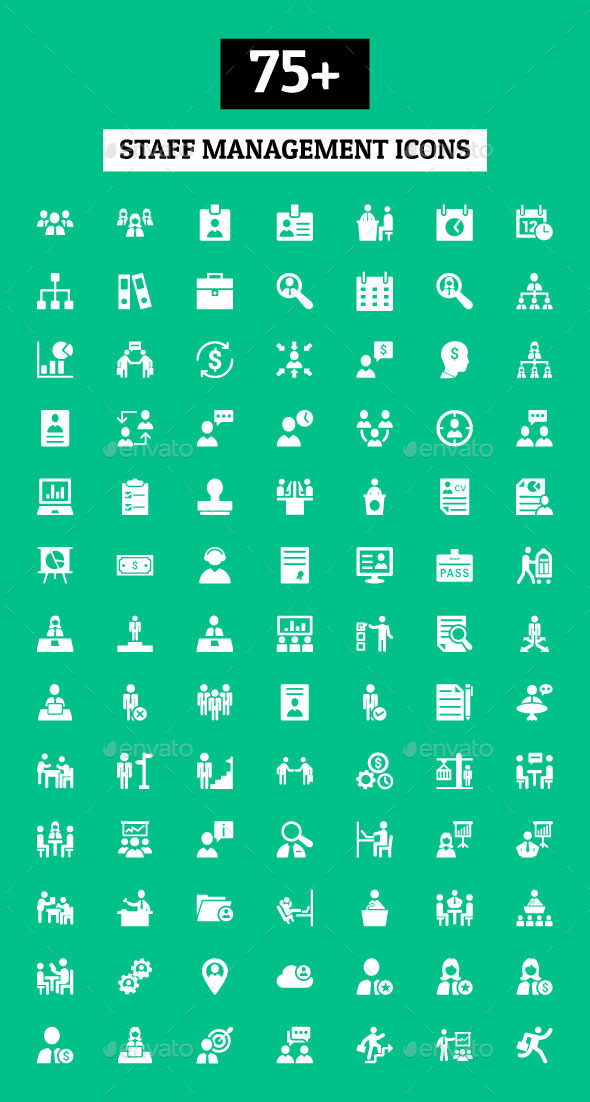 GraphicRiver 75& Staff Management Icons 10921341