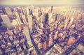 Retro old film stylized aerial picture of New York City downtown - PhotoDune Item for Sale