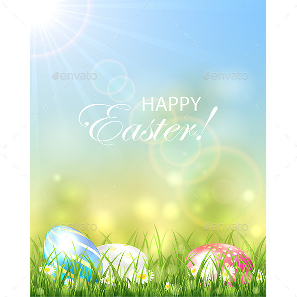 GraphicRiver Easter Background with Colorful Eggs 10921595