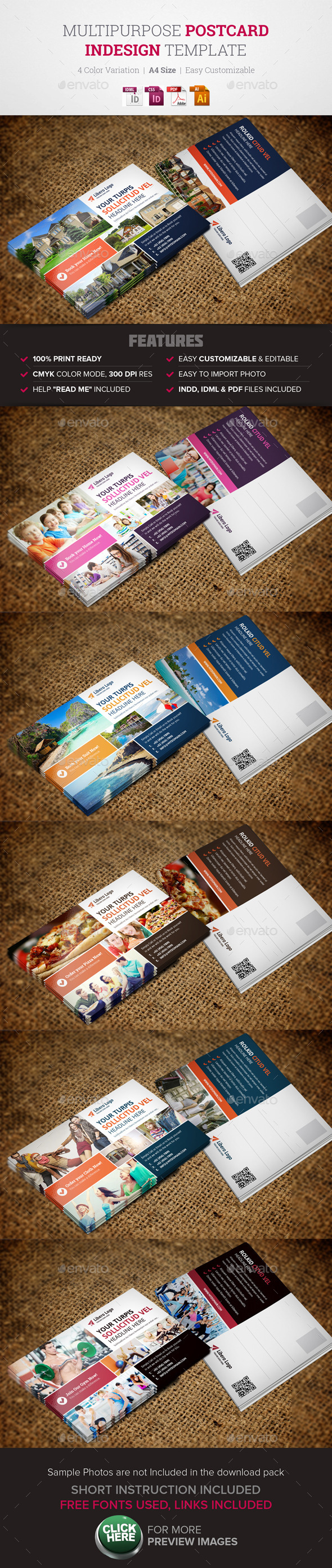 GraphicRiver Postcard InDesign Template 10921817