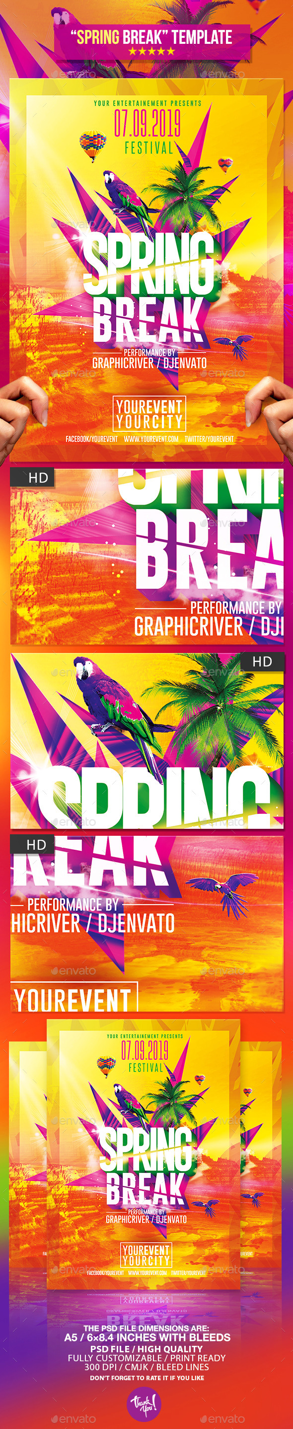 GraphicRiver Spring Break Party Psd Flyer Template 10921841