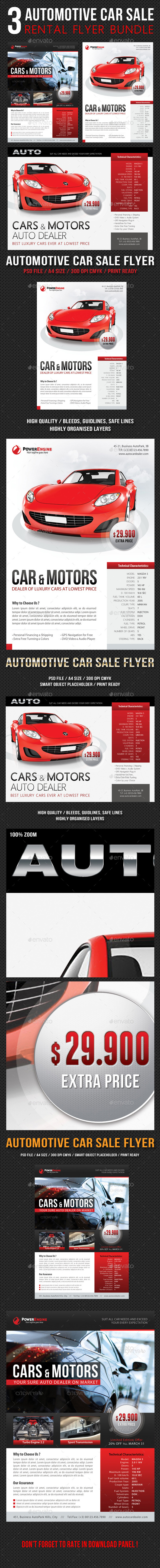GraphicRiver 3 in 1 Automotive Car Sale Rental Flyer Bundle 10922071