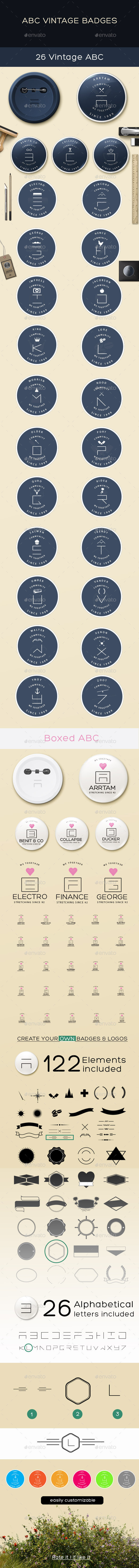 GraphicRiver Vintage ABC Badges 10922390