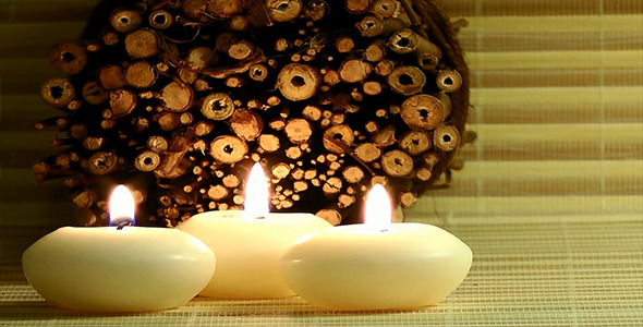 Candles and Scanted Wood Pieces