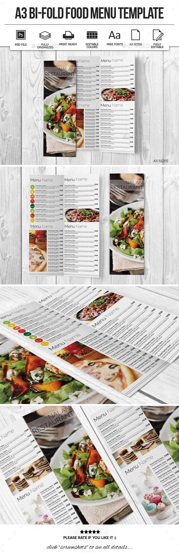 GraphicRiver A3 Bi-Fold Food Menu Template 10922552
