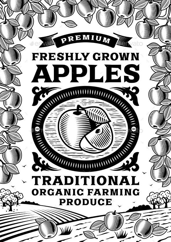 GraphicRiver Retro Apples Poster Black and White 10922599