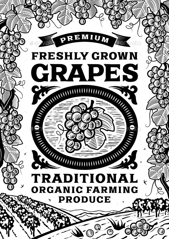 GraphicRiver Retro Grapes Poster Black and White 10922674