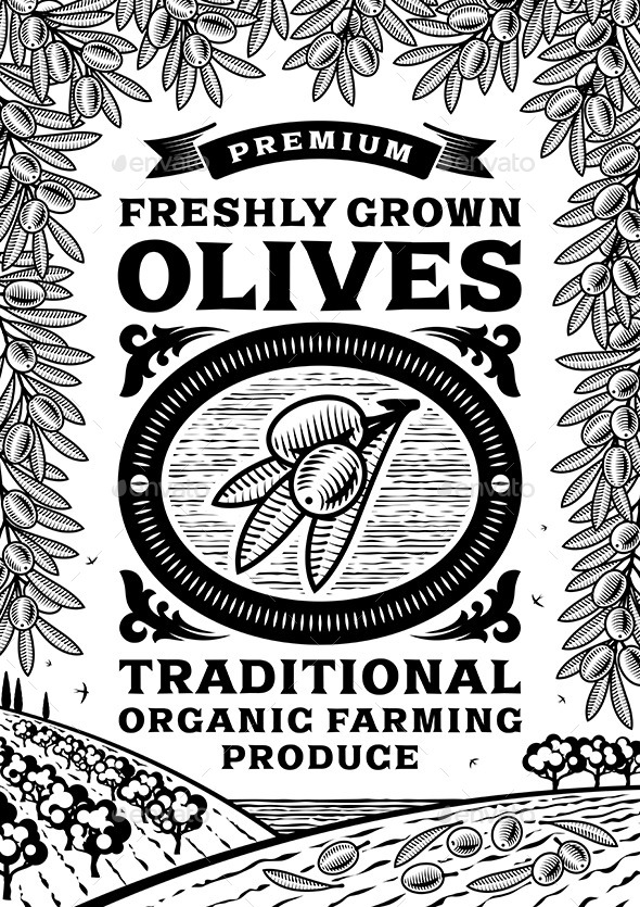 GraphicRiver Retro Olives Poster Black And White 10922688
