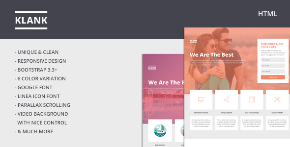 ThemeForest Klank Multipurpose Landing Page With Bootstrap 10922812