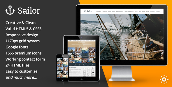 ThemeForest Sailor Yacht Charter Booking HTML Template 10868502