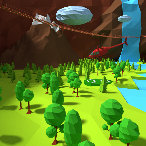 3DOcean Low Poly landscape 10923084