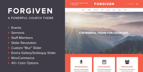 Forgiven - A Powerful WordPress Theme for Churches - Churches Nonprofit