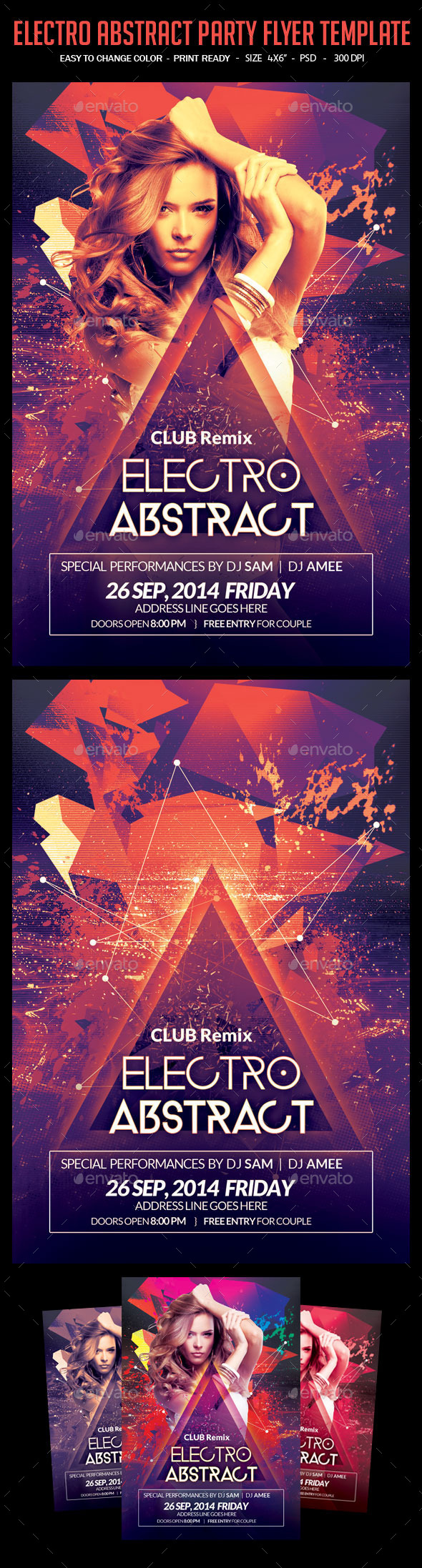 GraphicRiver Electro Abstract Vibes Party Flyer 10923596