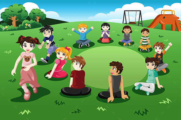 GraphicRiver Kids Playing Duck Duck Goose 10923728