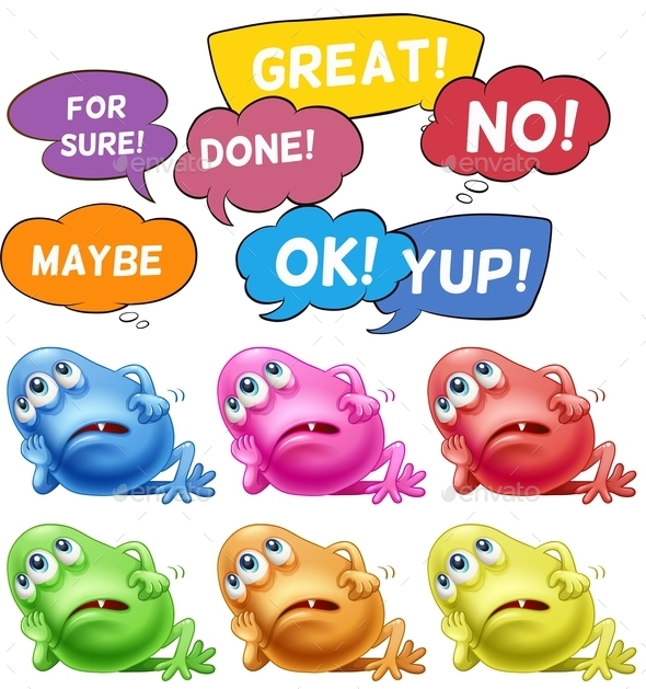 GraphicRiver Monsters and Speech Bubbles 10923912