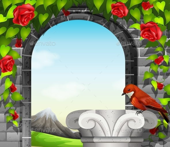 GraphicRiver Stonewall with Roses and Bird 10924121