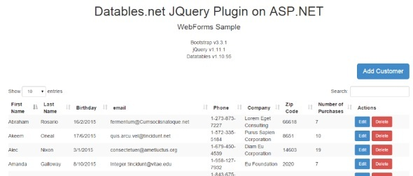 CodeCanyon ASP.NET JQuery Datatables Server Side Integration 10877290