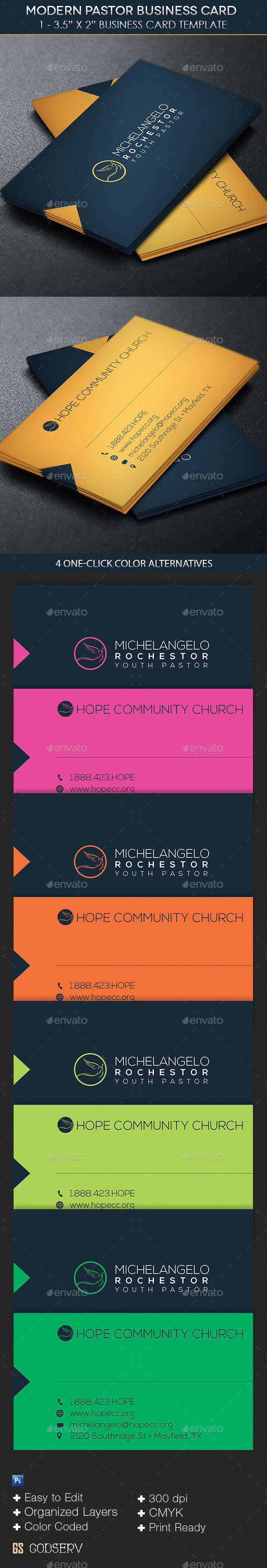 GraphicRiver Modern Pastor Business Card Template 10924311