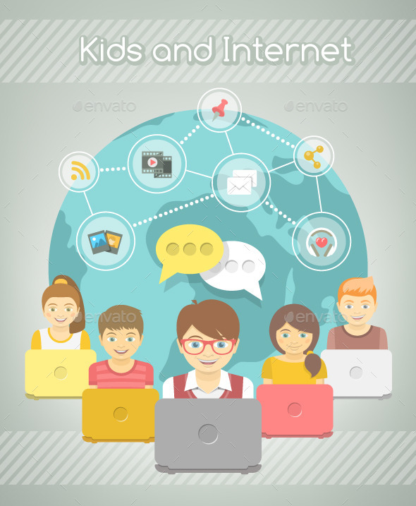 GraphicRiver Kids Social Networking on the Internet 10924382