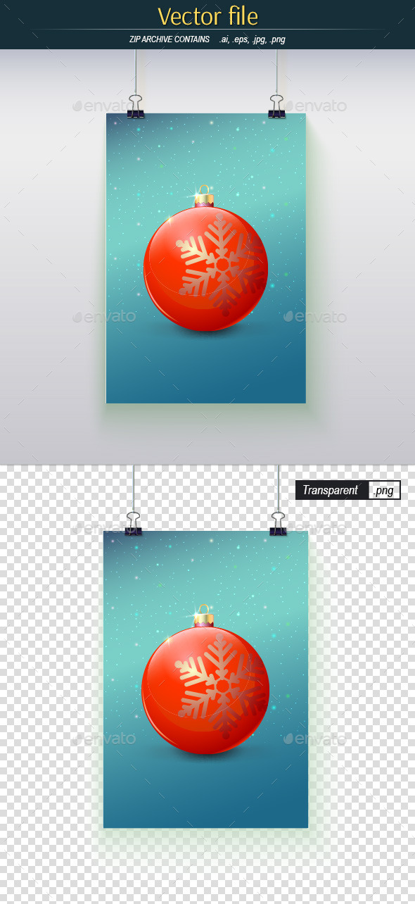 GraphicRiver Poster Hanging on the Wall with Red Christmas Ball 10924541