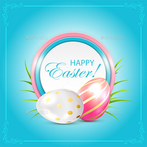 GraphicRiver Easter Card with Eggs and Grass 10924550