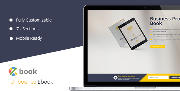 ThemeForest Ebook Unbounce Template 10892625