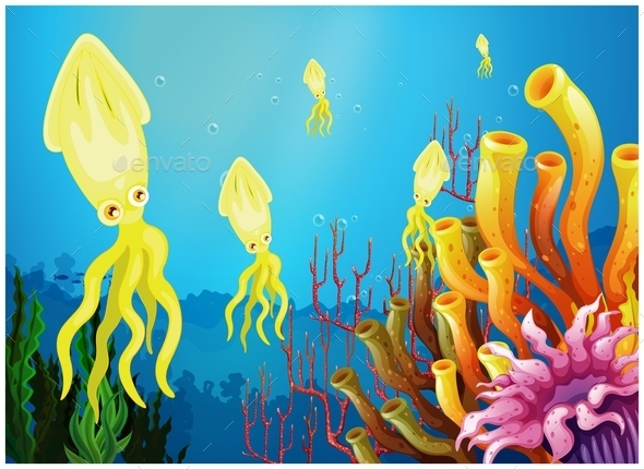GraphicRiver Yellow Squids Near Coral Reefs 10924759