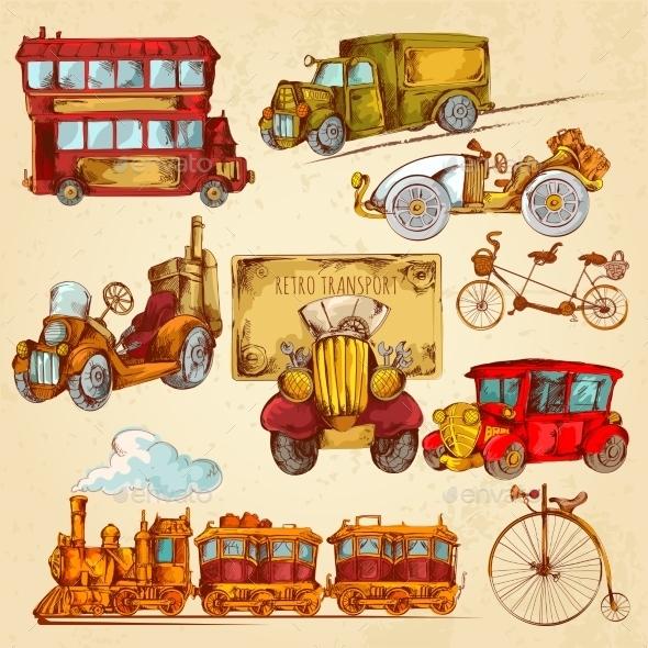 GraphicRiver Vintage Transport Sketch Colored 10924821