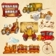 Vintage Transport Sketch Colored - GraphicRiver Item for Sale