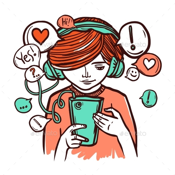 GraphicRiver Young Girl In Headphones with Smartphone 10924831