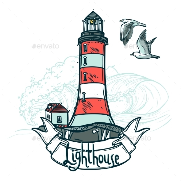 GraphicRiver Lighthouse Sketch Illustration 10924833