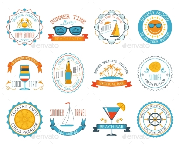 GraphicRiver Summer Vacation Emblem Stickers 10924836