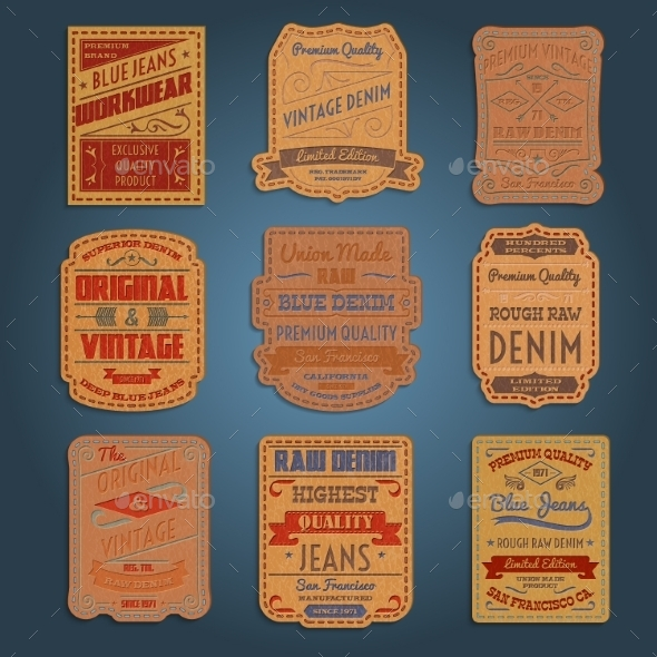 GraphicRiver Leather Classic Denim Jeans Labels Set 10924840