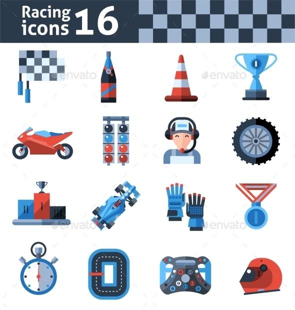 GraphicRiver Racing Icons Set 10924845