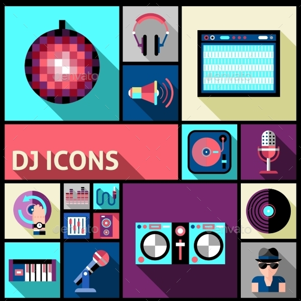 GraphicRiver DJ Icons Set 10924848