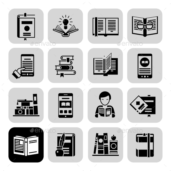 GraphicRiver Books Icons Black Set 10924850