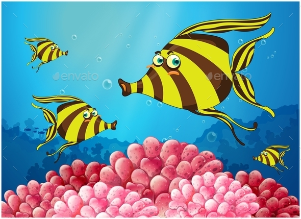 GraphicRiver Group of Stripe-Colored Fishes 10924866