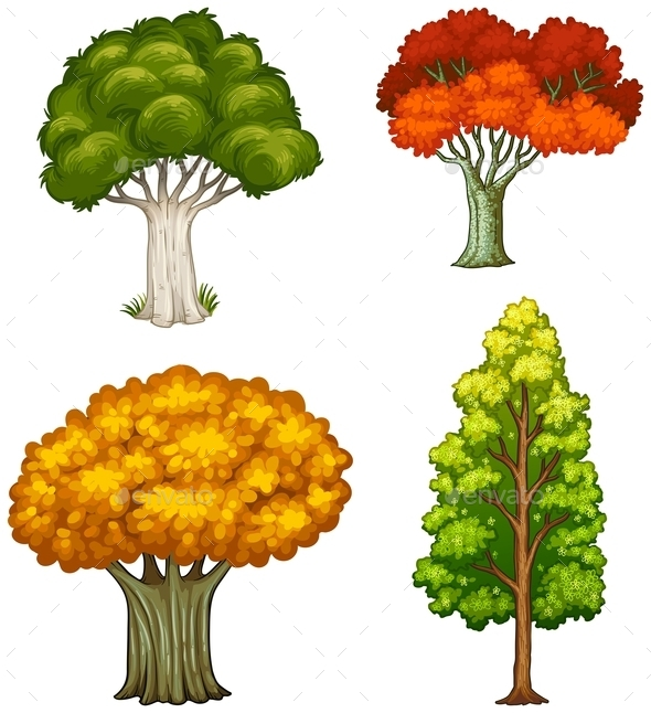 GraphicRiver Four Trees with Different Colors 10925333