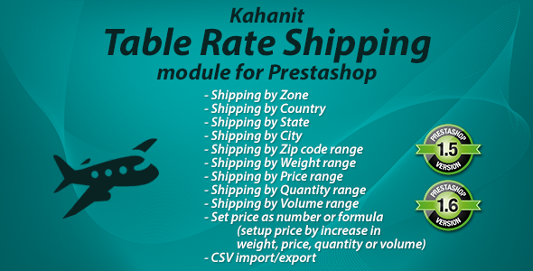 CodeCanyon Kahanit Table Rate Shipping module for PrestaShop 10821870