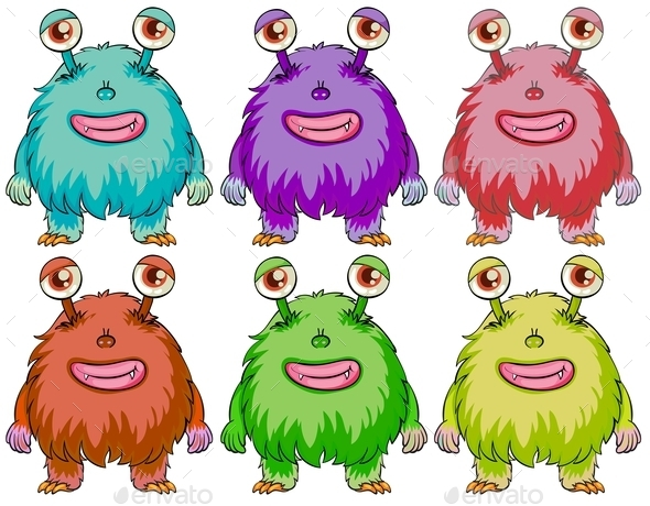 GraphicRiver Six Colourful Monsters 10925423