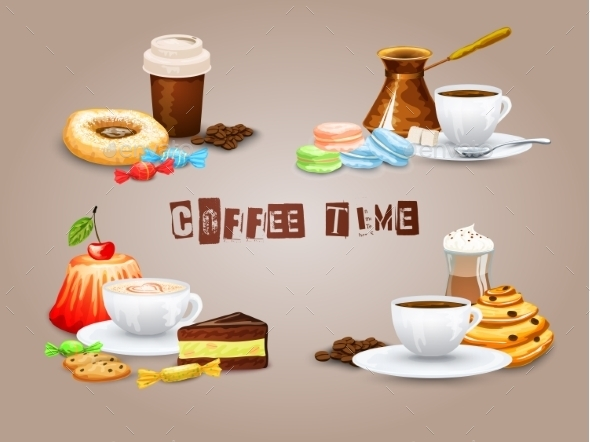 GraphicRiver Coffee Decorative Icons Set 10925590
