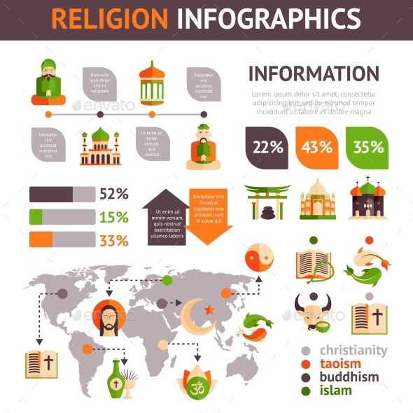 GraphicRiver Religion Infographics Set 10925622
